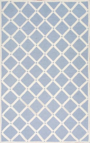 Diamond Lattice Rug in Sky Blue and Ivory - Yarn and Loom Rugs