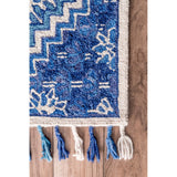 Maldive Paisley Tassel Rug in Blue and White