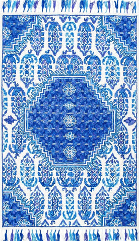 Maldive Paisley Tassel Rug in Blue and White - Yarn and Loom Rugs