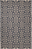 Maze Geometric Flatweave Rug in Midnight Blue and Dark Beige - Yarn and Loom Rugs