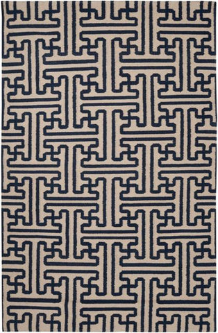 Maze Geometric Flatweave Rug in Midnight Blue and Dark Beige