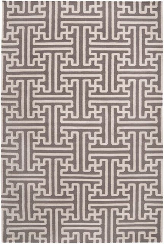 Maze Geometric Flatweave Rug in Taupe and Cream