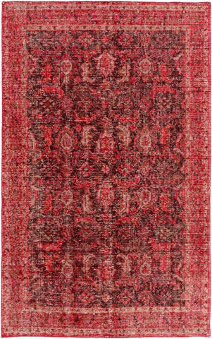 Milas Overdyed Rug in Dark Red