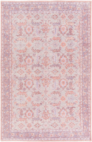 Milas Overdyed Rug in Purple, Blush and Grey