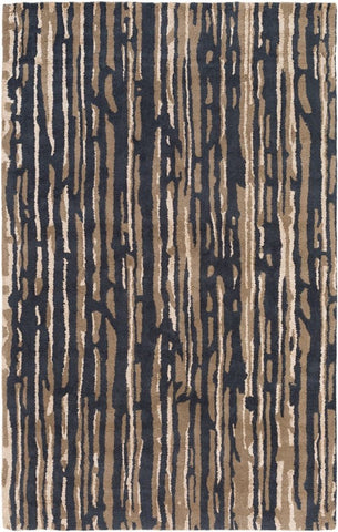 Paper Bark Rug in Black, Cream and Tan