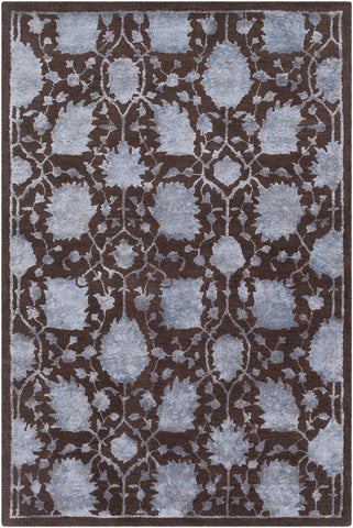 Protea Floral Tencel and Wool Rug in Dark Brown and Denim