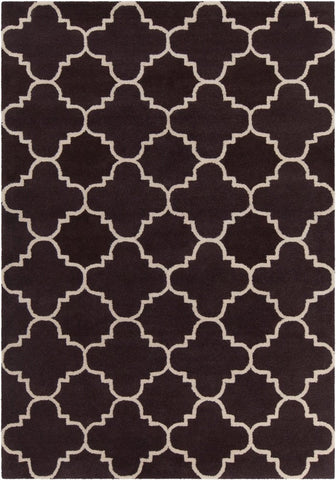 Quatrefoil Rug in Chocolate Brown and Beige
