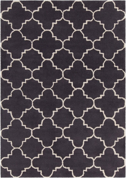 Quatrefoil Rug in Charcoal and Ivory