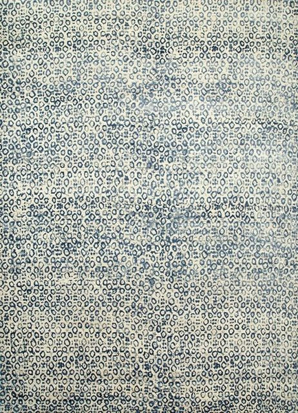 Watercolour Leopard Rug in Antique White and Blue - Yarn and Loom Rugs