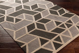 Rhombus Geometric Rug in Gunmetal Grey, Grey and Bone White