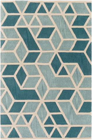 Rhombus Geometric Rug in Mint Green, Teal and Bone White