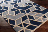 Rhombus Geometric Rug in Navy Blue, Grey and Bone