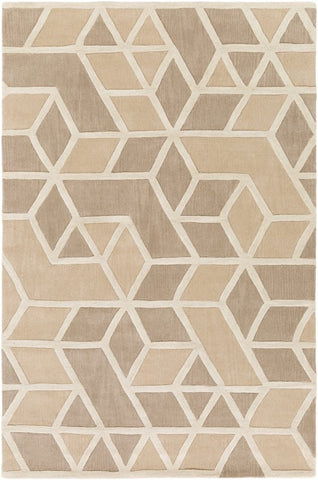 Rhombus Geometric Rug in Taupe, Beige and Bone White