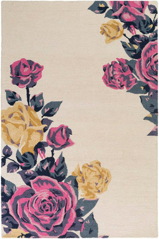 Rosa Rug in Cream, Bright Pink and Mustard