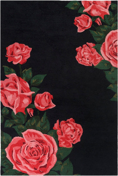 Rosa Rug in Ink, Bright Pink and Dark Green
