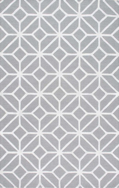 Crystal Trellis in Grey and White - Yarn and Loom Rugs
