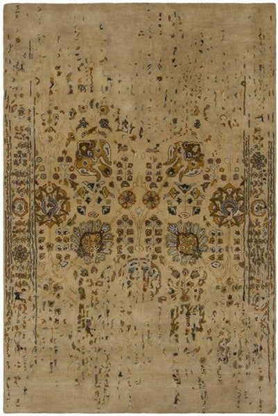 Erased Floral Rug in Tan - Yarn and Loom Rugs