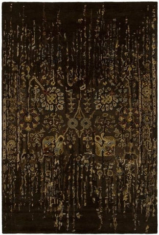 Erased Floral Rug in Dark Brown - Yarn and Loom Rugs