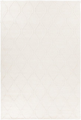 Casablanca Textured Trellis Rug in White - Yarn and Loom Rugs