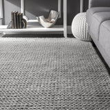 Chunky Sweater Cable Knit Rug in Light Grey - Yarn and Loom Rugs