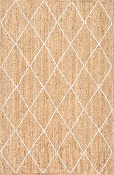 Hand-Braided White Trellis Jute Rug in Natural