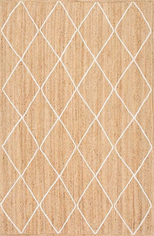 Hand-Braided White Trellis Jute Rug in Natural - Yarn and Loom Rugs