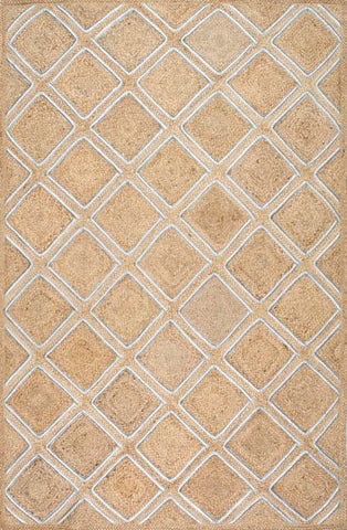 Hand-Braided Silver Diamond Jute Rug in Natural
