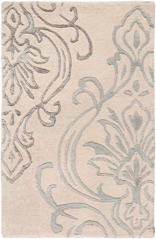 Winton Damask Rug in Ivory and Grey