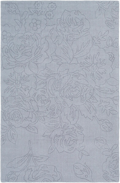 Roses Solid Wool Rug in Light Grey