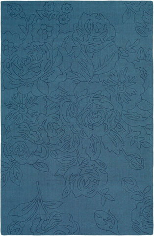 Roses Solid Wool Rug in Denim Blue