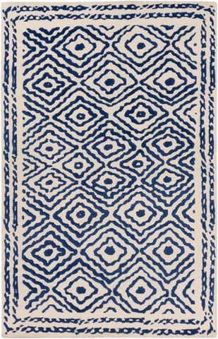 Modern Aztec Rug in Navy Blue - Yarn and Loom Rugs
