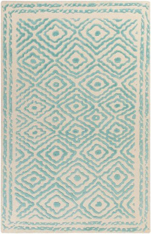 Modern Aztec Rug in Teal - Yarn and Loom Rugs