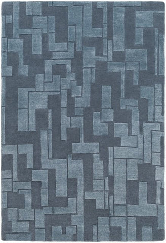 Atticus Rug in Blue Slate - Yarn and Loom Rugs