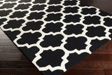 Classic Trellis Rug in Black and Cream - Yarn and Loom Rugs