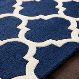 Classic Trellis Rug in Navy Blue and Cream - Yarn and Loom Rugs
