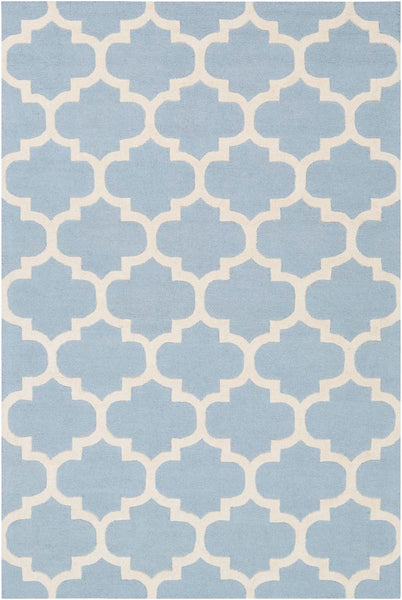Classic Trellis Rug in Sterling Blue and Cream - Yarn and Loom Rugs