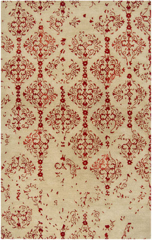 Erased Damask Rug in Bright Red and Beige - Yarn and Loom Rugs