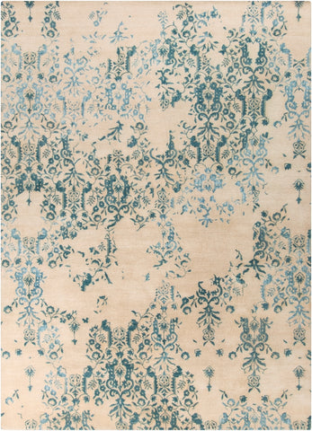 Erased Damask Rug in Teal and Beige - Yarn and Loom Rugs
