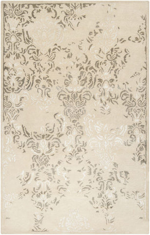 Erased Damask Rug in White, Cream and Light Khaki - Yarn and Loom Rugs
