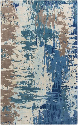 Watercolour Rug in Dark Blue, Bright Blue, Cream, Camel and Pale Blue - Yarn and Loom Rugs