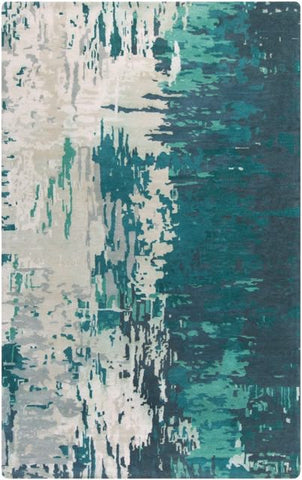 Watercolour Rug in Teal, Sage and Ivory - Yarn and Loom Rugs