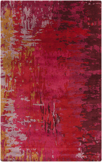 Watercolour Rug in Bright Red, Bright Pink, Lilac, Mustard and Burgundy - Yarn and Loom Rugs