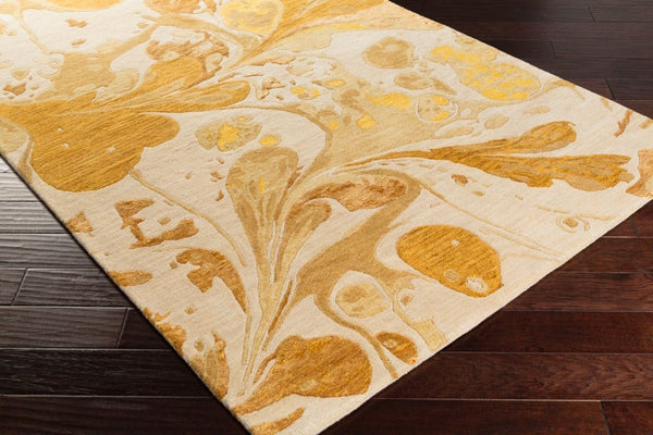 Splatter Watercolour Rug In Gold Ivory And Lemon Yellow