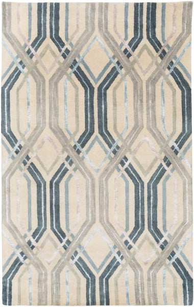 Manhattan Rug in Charcoal, Sky Blue, Dark Blue, Taupe, Light Grey & Beige - Yarn and Loom Rugs