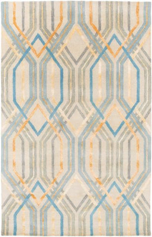 Manhattan Rug in Aqua, Sky Blue, Bright Yellow, Light Grey & Beige - Yarn and Loom Rugs