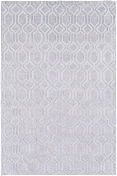 Hand Knotted Geometric Linen Rug in Silver Grey
