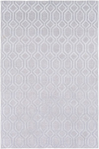 Hand Knotted Geometric Linen Rug in Silver Grey - Yarn and Loom Rugs