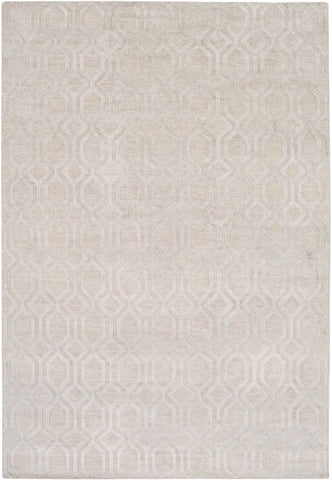 Hand Knotted Geometric Linen Rug in Light Grey