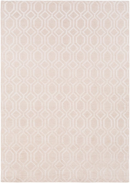Hand Knotted Geometric Linen Rug in Blush