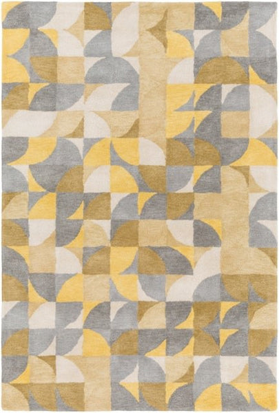 Keeley Rug in Bright Yellow, Grey, Khaki Green and White - Yarn and Loom Rugs